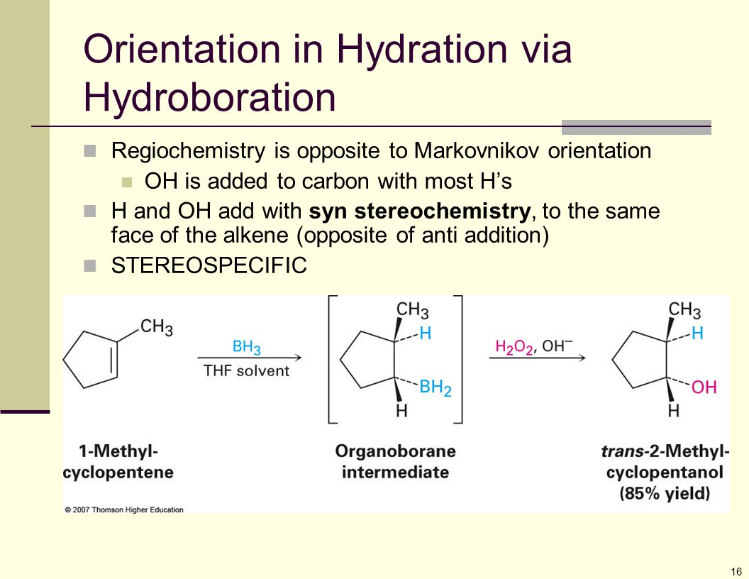 Orientation in Hydration via Hydroboration