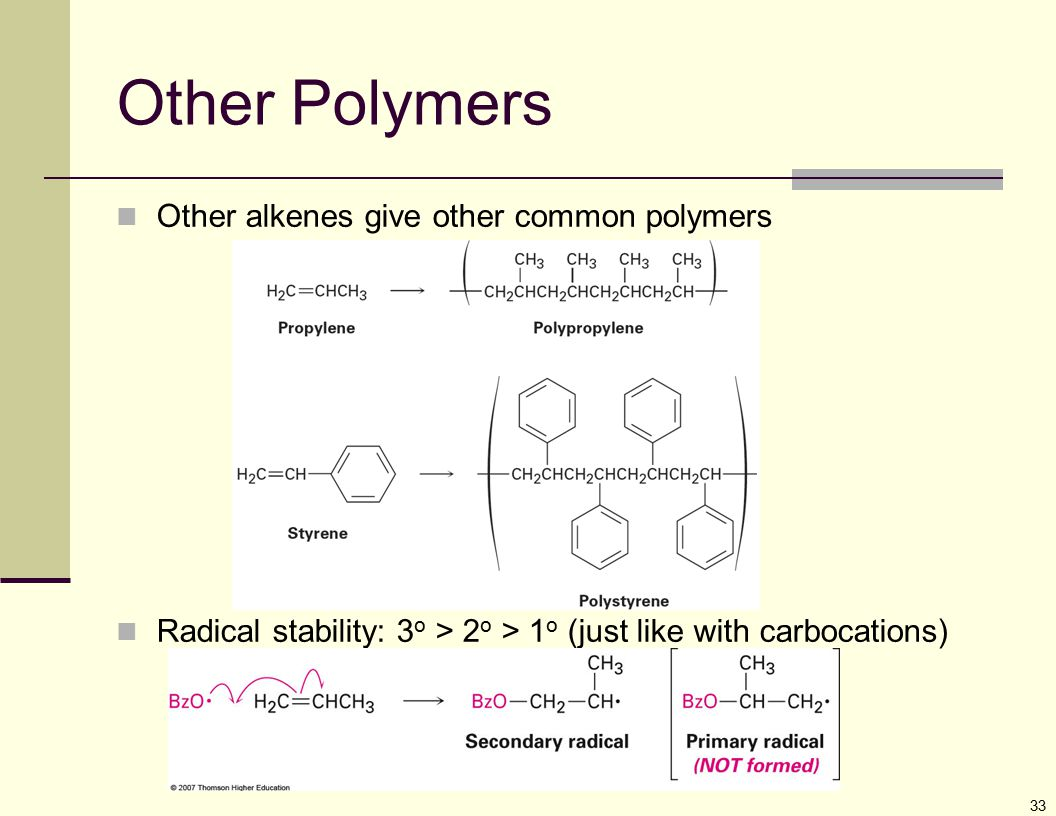 Other Polymers Other alkenes give other common polymers