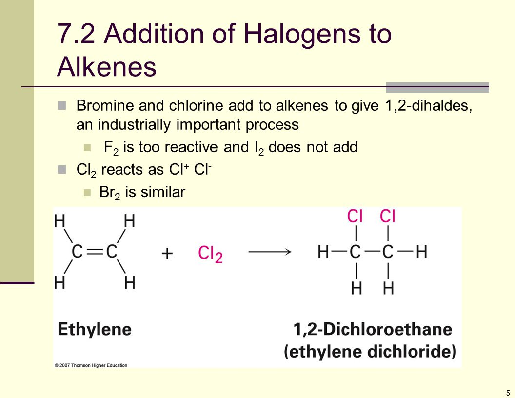 7.2 Addition of Halogens to Alkenes