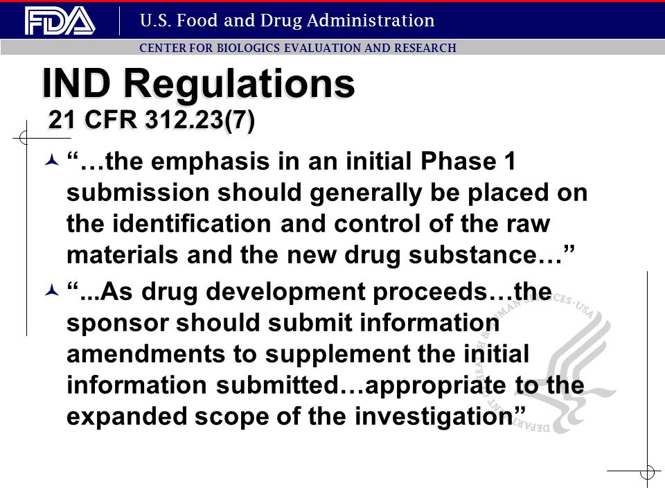 IND Regulations 21 CFR 312.23(7)