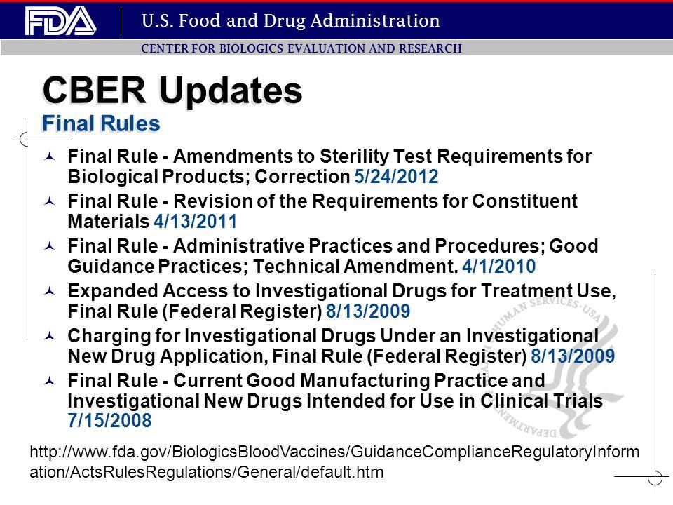 CBER Updates Final Rules