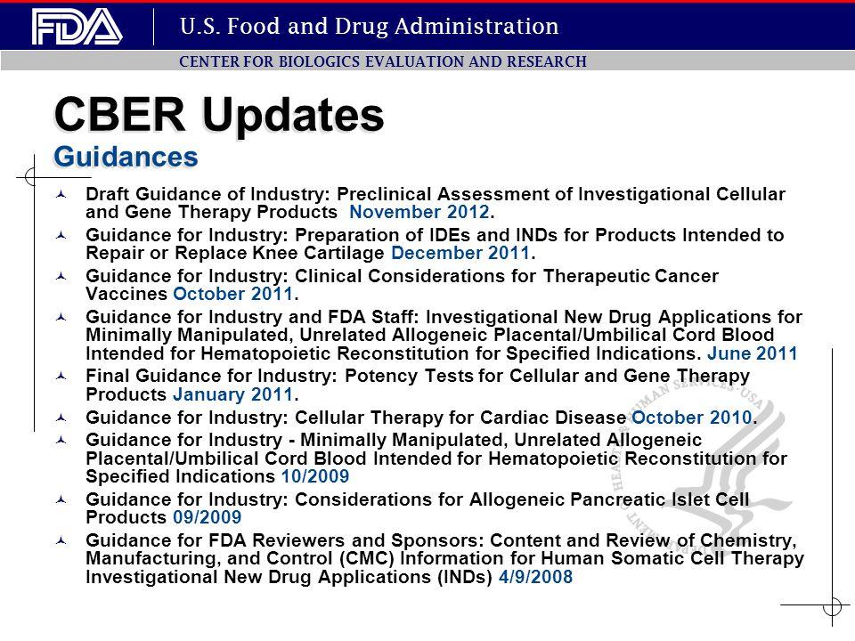 CBER Updates Guidances