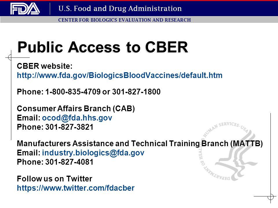 Public Access to CBER CBER website: