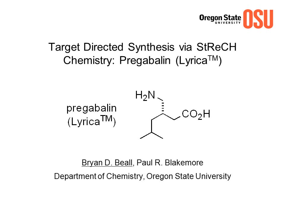 Target Directed Synthesis via StReCH Chemistry: Pregabalin (LyricaTM)