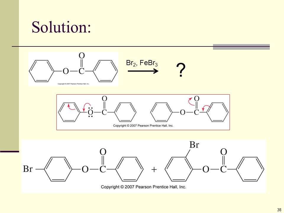Solution: Br2, FeBr3