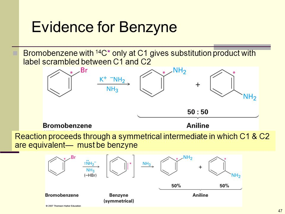Evidence for Benzyne Bromobenzene with 14C* only at C1 gives substitution product with label scrambled between C1 and C2.