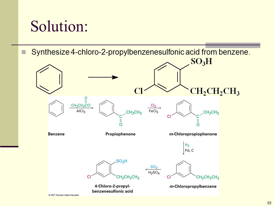 Solution: Synthesize 4-chloro-2-propylbenzenesulfonic acid from benzene.