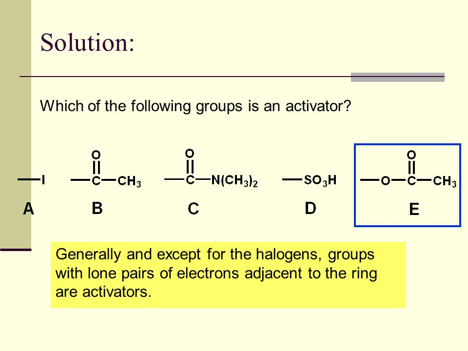 Solution: Which of the following groups is an activator