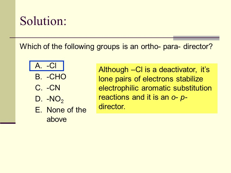 Solution: Which of the following groups is an ortho- para- director