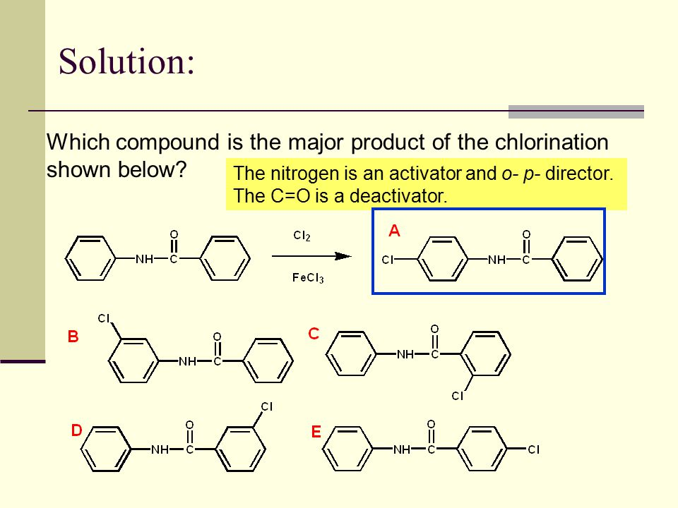 Solution: Which compound is the major product of the chlorination shown below