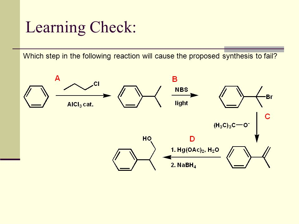 Learning Check: Which step in the following reaction will cause the proposed synthesis to fail