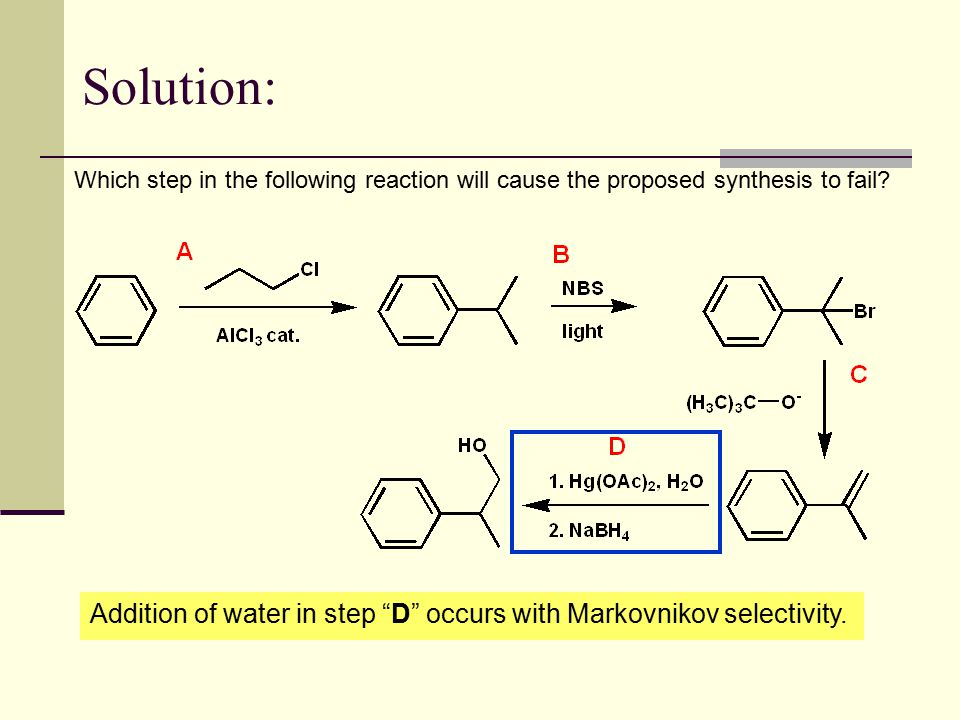 Solution: Which step in the following reaction will cause the proposed synthesis to fail