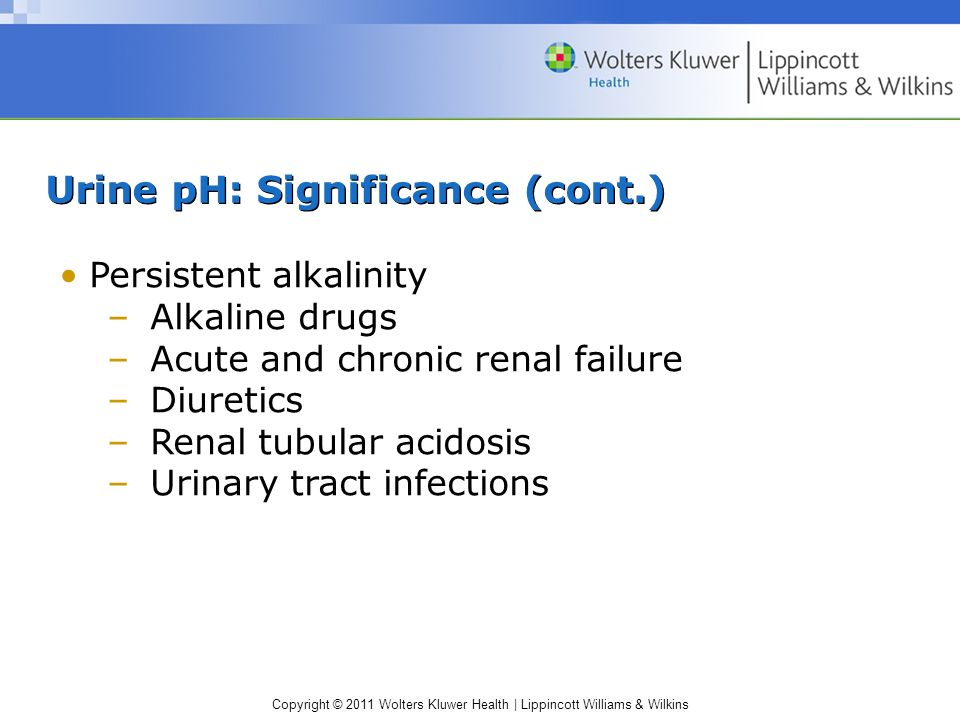 Urine pH: Significance (cont.)