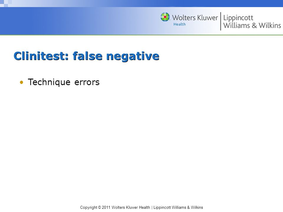 Clinitest: false negative