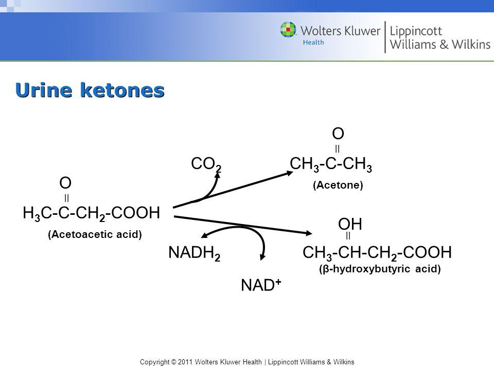 Urine ketones O CO2 CH3-C-CH3 O (Acetone) H3C-C-CH2-COOH