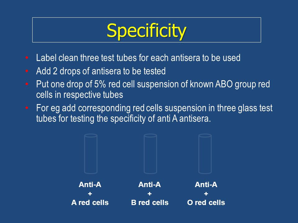 Specificity Label clean three test tubes for each antisera to be used