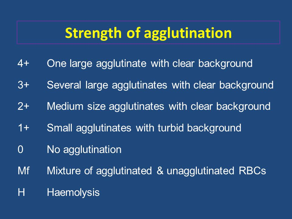 Strength of agglutination