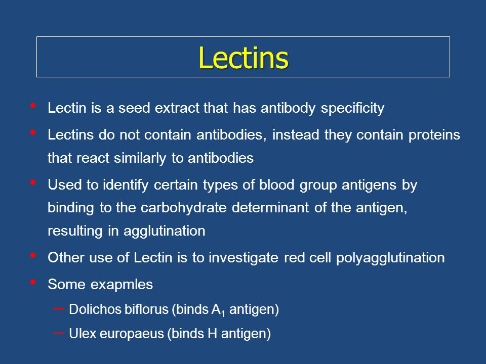 Lectins Lectin is a seed extract that has antibody specificity