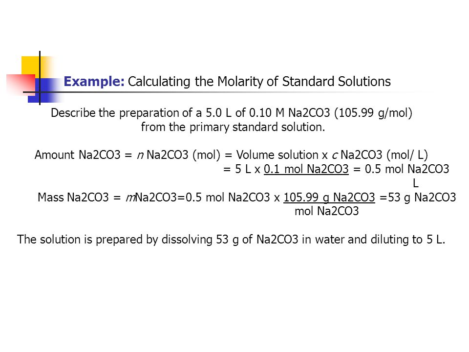 Example: Calculating the Molarity of Standard Solutions