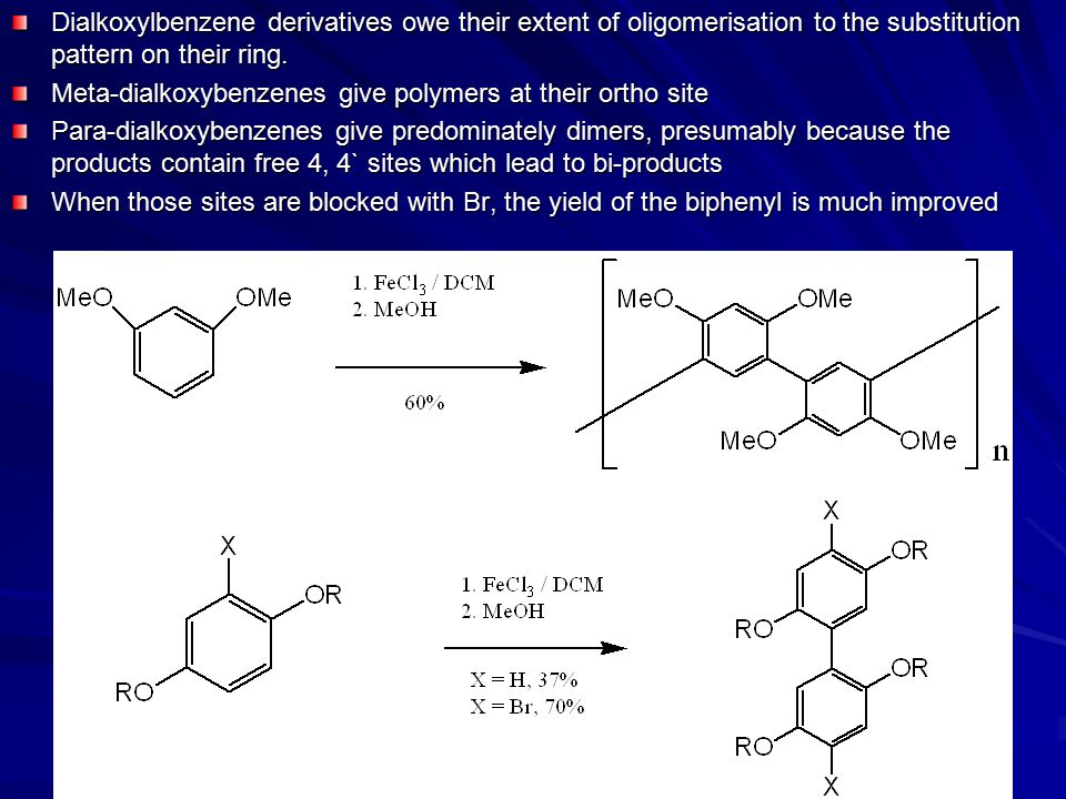 Dialkoxylbenzene derivatives owe their extent of oligomerisation to the substitution pattern on their ring.