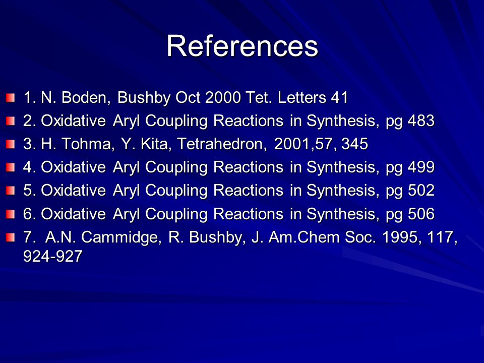 References 1. N. Boden, Bushby Oct 2000 Tet. Letters 41