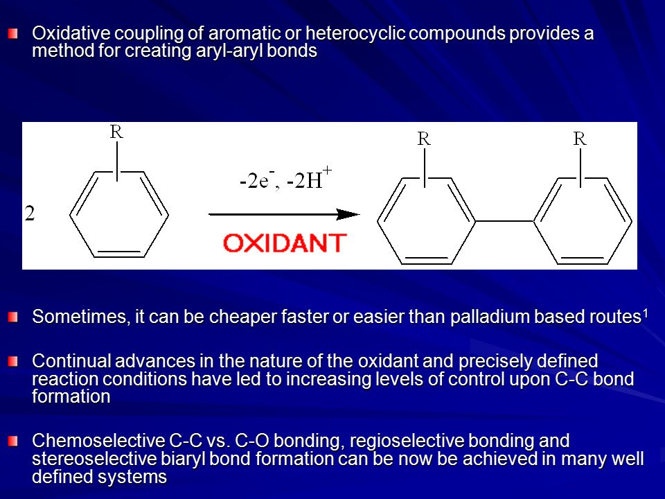 Oxidative coupling of aromatic or heterocyclic compounds provides a method for creating aryl-aryl bonds