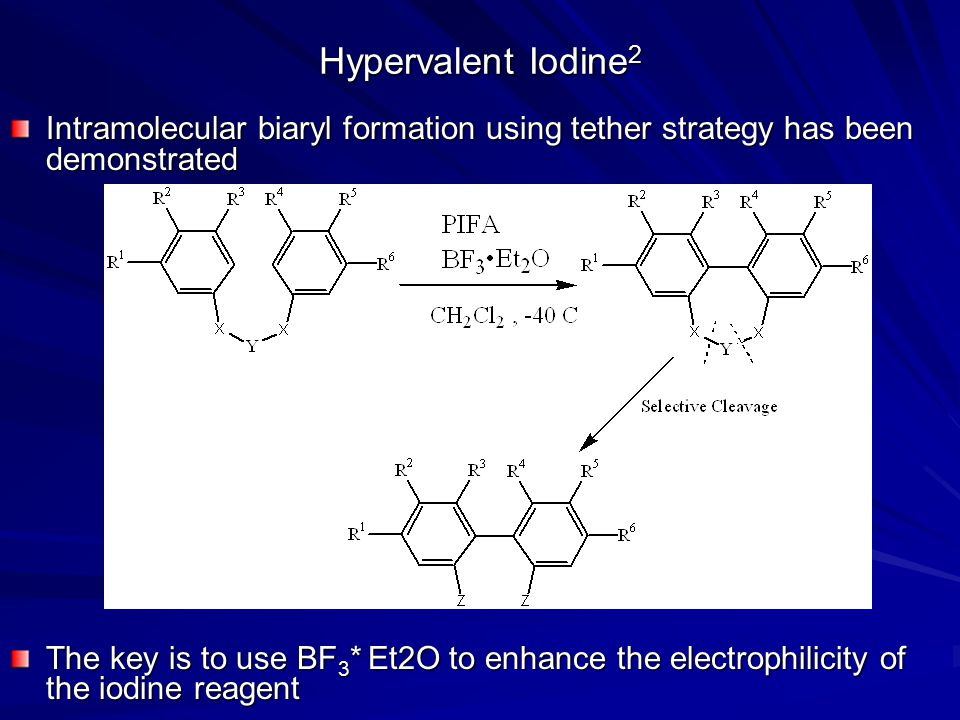 Hypervalent Iodine2 Intramolecular biaryl formation using tether strategy has been demonstrated.