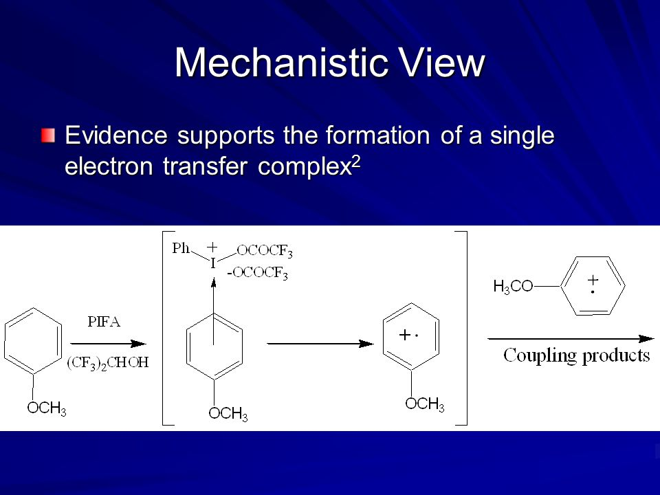 Mechanistic View Evidence supports the formation of a single electron transfer complex2