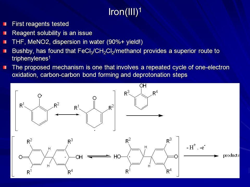 Iron(III)1 First reagents tested Reagent solubility is an issue