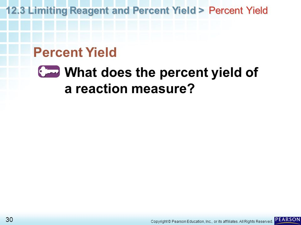 What does the percent yield of a reaction measure