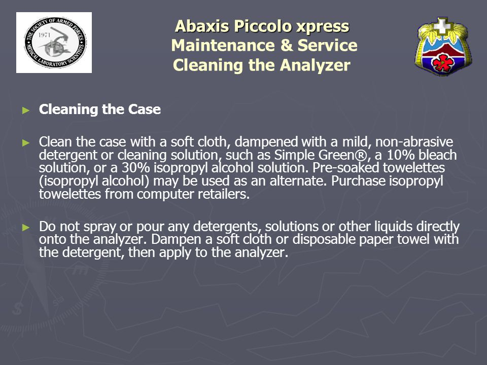 Abaxis Piccolo xpress Maintenance & Service Cleaning the Analyzer