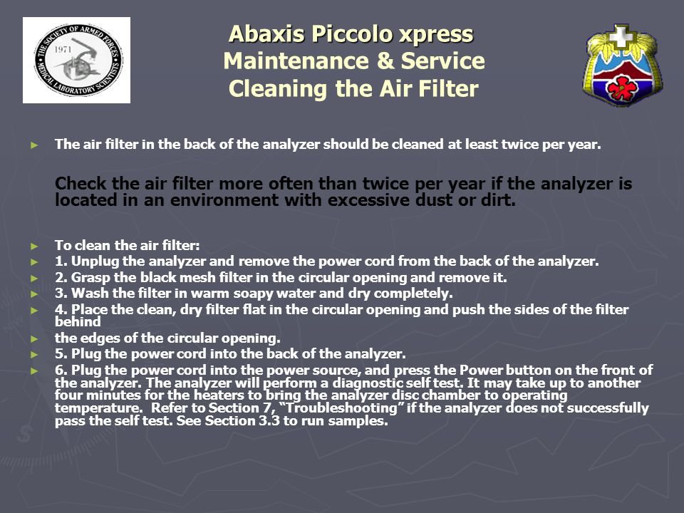 Abaxis Piccolo xpress Maintenance & Service Cleaning the Air Filter