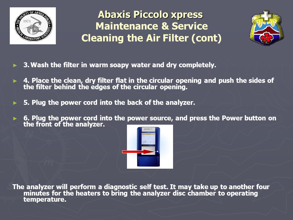 Abaxis Piccolo xpress Maintenance & Service Cleaning the Air Filter (cont)
