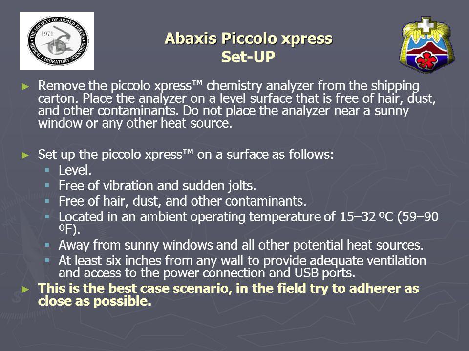 Abaxis Piccolo xpress Set-UP