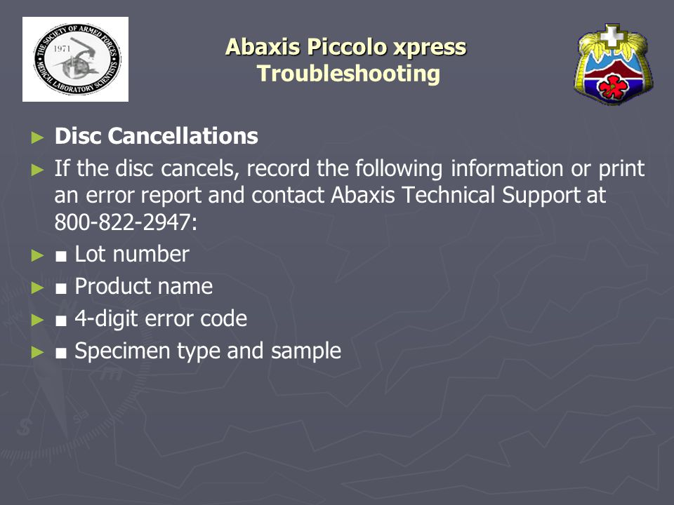 Abaxis Piccolo xpress Troubleshooting