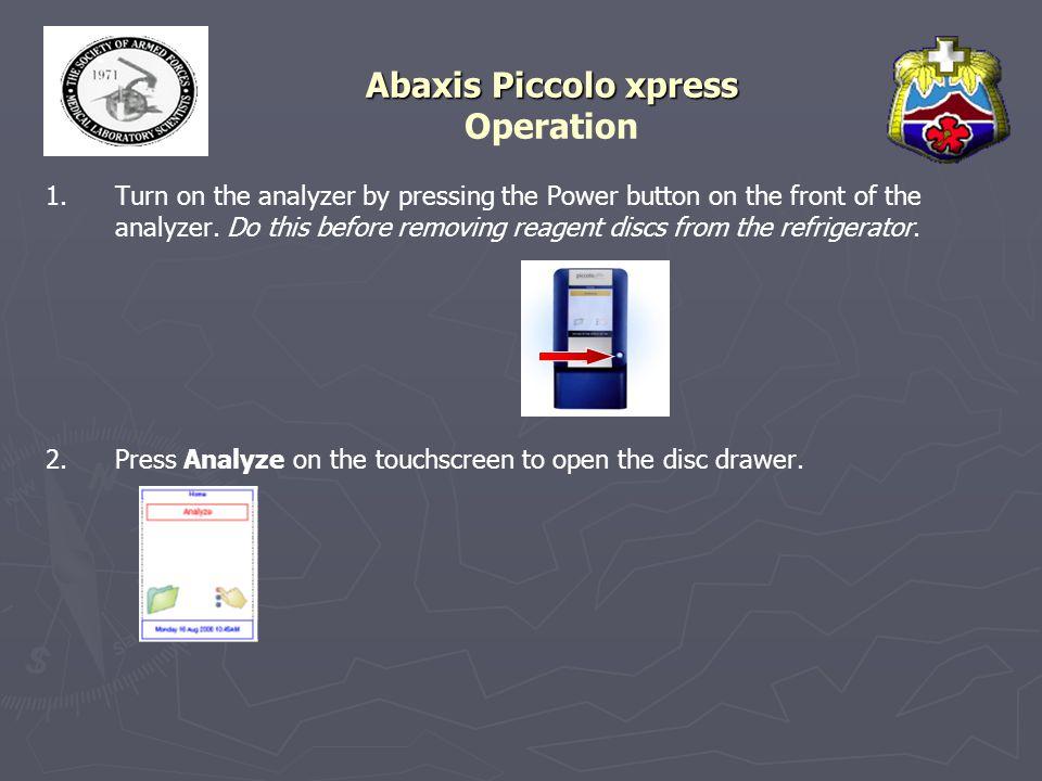 Abaxis Piccolo xpress Operation