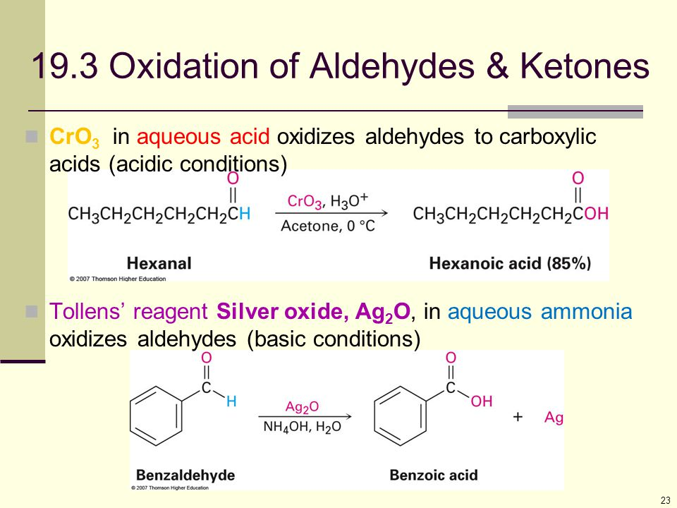 19.3 Oxidation of Aldehydes & Ketones
