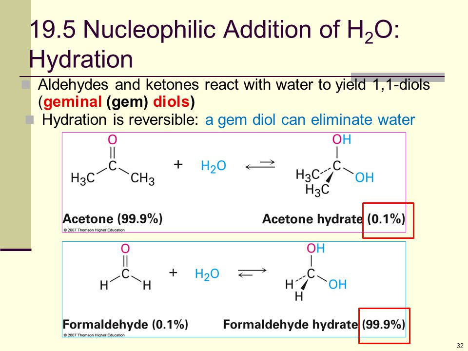 19.5 Nucleophilic Addition of H2O: Hydration