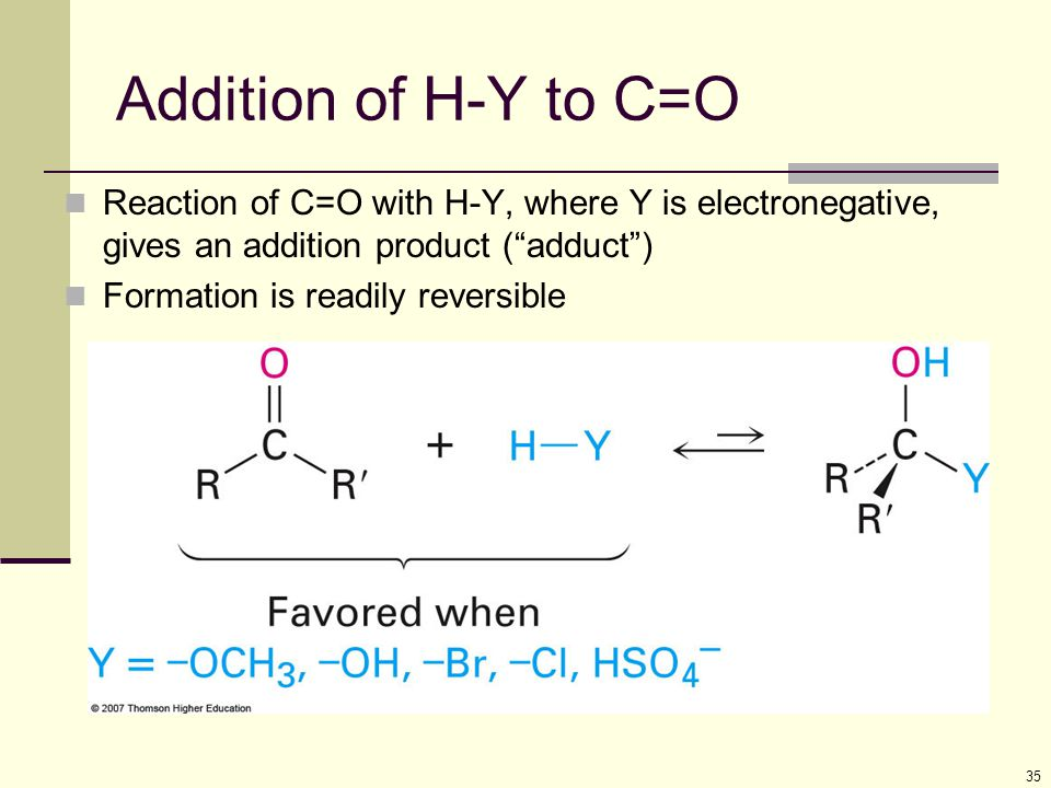 Addition of H-Y to C=O Reaction of C=O with H-Y, where Y is electronegative, gives an addition product ( adduct )