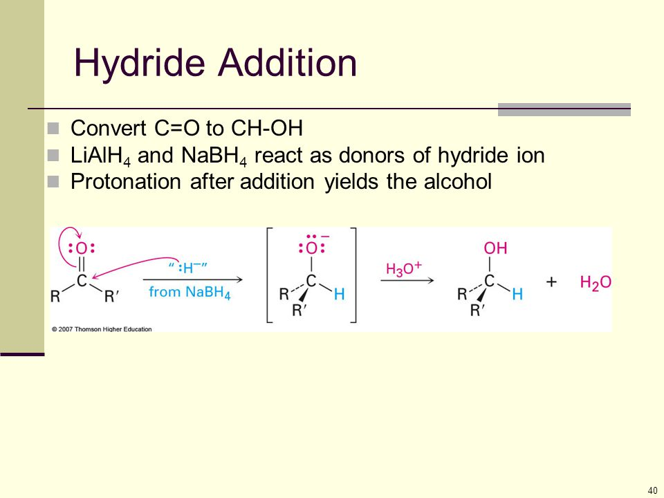 Hydride Addition Convert C=O to CH-OH