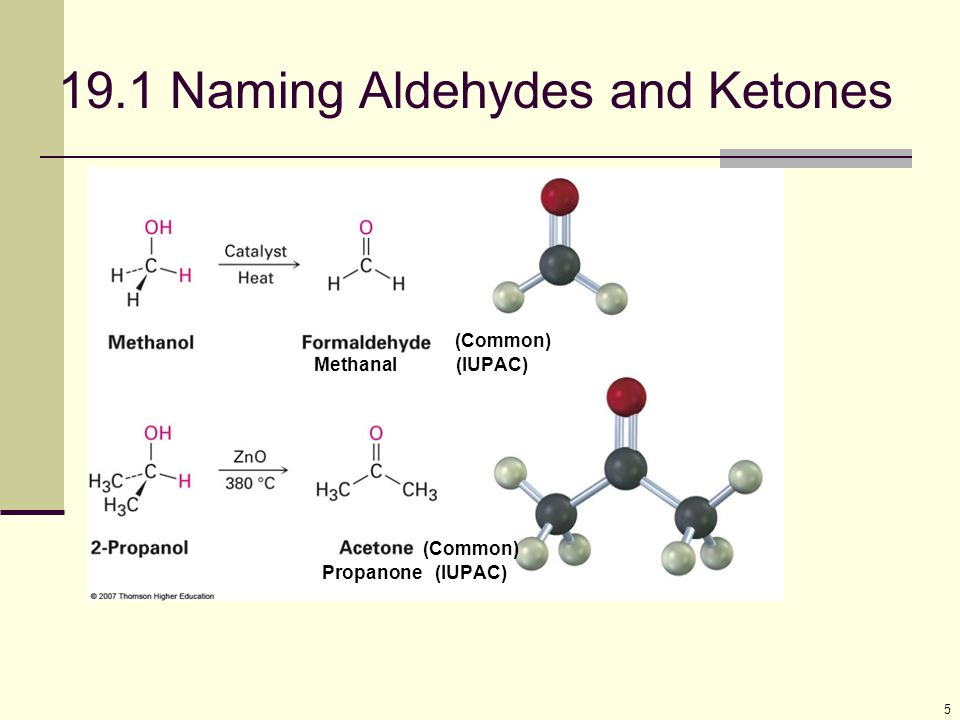 19.1 Naming Aldehydes and Ketones