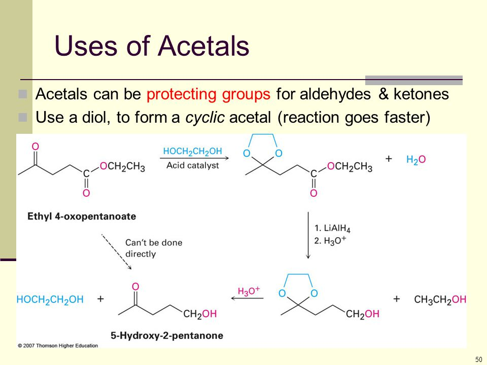 Uses of Acetals Acetals can be protecting groups for aldehydes & ketones.