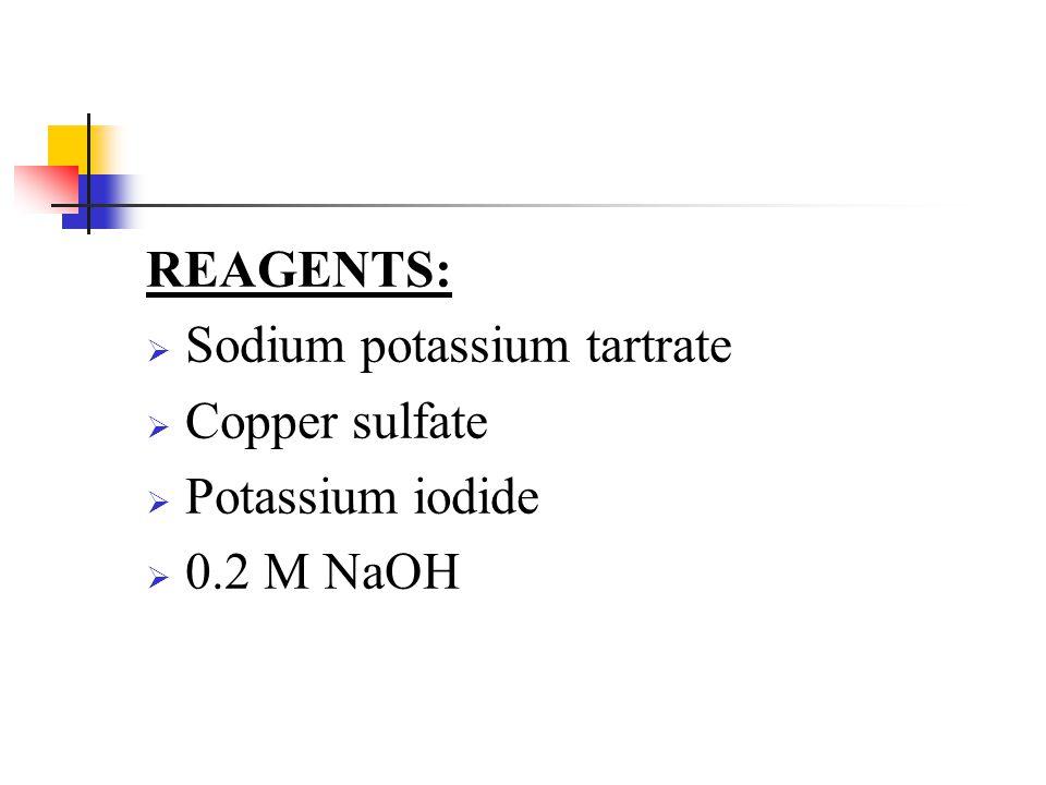 REAGENTS: Sodium potassium tartrate Copper sulfate Potassium iodide 0.2 M NaOH
