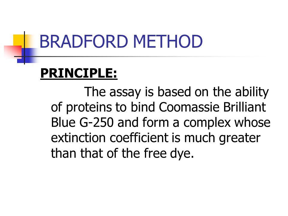 BRADFORD METHOD PRINCIPLE: