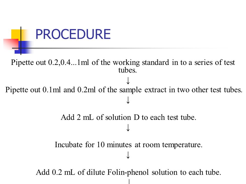 PROCEDURE Pipette out 0.2,0.4...1ml of the working standard in to a series of test tubes. ↓