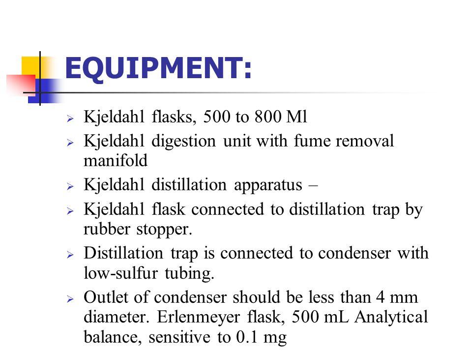 EQUIPMENT: Kjeldahl flasks, 500 to 800 Ml