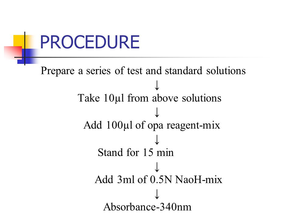 PROCEDURE Prepare a series of test and standard solutions ↓