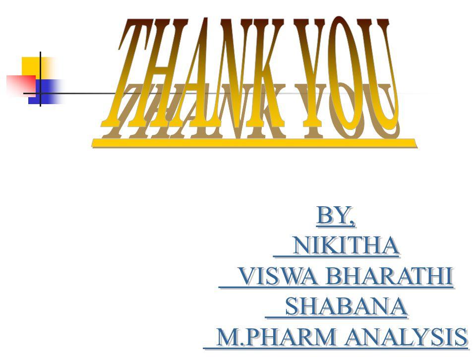 THANK YOU BY, NIKITHA VISWA BHARATHI SHABANA M.PHARM ANALYSIS