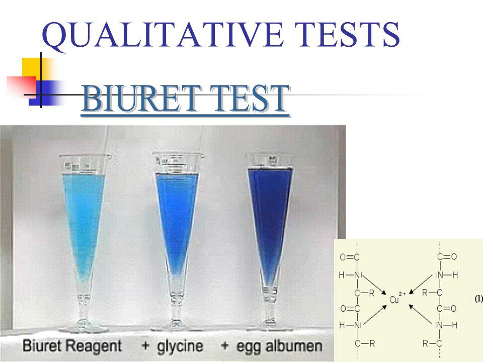 QUALITATIVE TESTS BIURET TEST