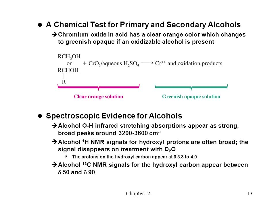 A Chemical Test for Primary and Secondary Alcohols